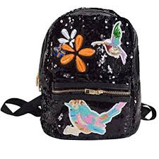 Felice Shinning Sequins Backpack Purse Multi Compartment School Travel Festival Daypack With Patches Black