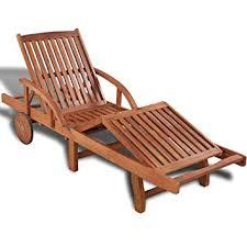 Anself 5 Position Adjustable Wood Sun Pool Chaise Lounger Folding Patio Outdoor Garden Recliner
