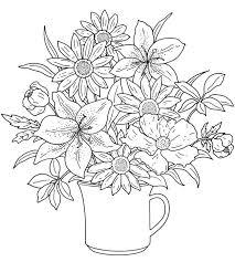 Flower Bouquet Coloring Pages Colouring Adult Detailed Advanced Printable Kleuren Voor Volwassenen Coloriage Pour Adulte Anti
