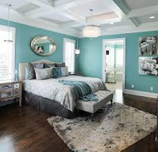 Mesmerizing Master Bedroom Design Ideas With Dark Hardwood Splash Of Teal Also Nice Gray Bedding As Well Shag Rug Appealing Grey And