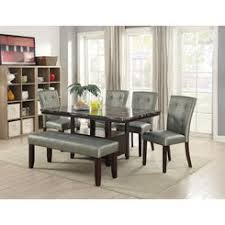 Esofastore Kitchen Dining Room 6pc Set Faux Marble Table W Storage Base Tufted Parson Style