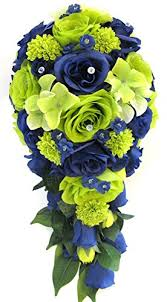 Wedding Bouquet Flowers Bridal Silk 17 Piece Package Lime GREEN NAVY Blue SILVER Seahawks Artificial Bouquets