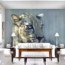 großhandel benutzerdefinierte fototapeten wandbilder striped leopard murales 3d tiere leopard wohnzimmer sofa backsplash dekor tapeten molamurals