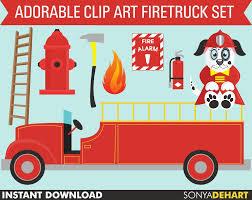 100 Clipart Fire Truck Man Ladder Etsy
