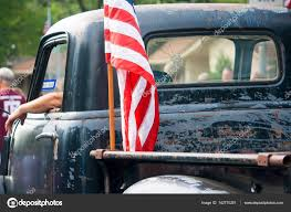 100 Truck Flag American On Vintage In Fourth Of July Parade Stock