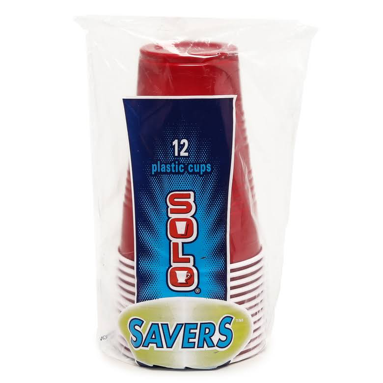 Solo 16 oz Plastic Red Cups - 12 Count