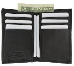 new slim thin mens bifold genuine leather id wallet black card