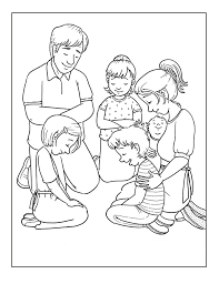 Families Is Praying Coloring Picture For Kids
