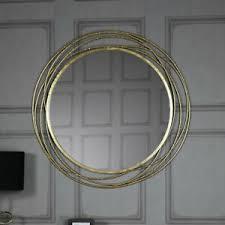details zu large antique gold circle swirl mirror vintage chic living room