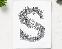 Instant Download Printable Coloring Page Floral Alphabet Letter N Digital Art Zen Pages