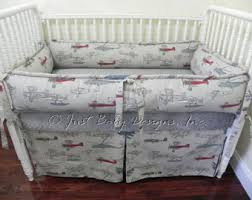 Baby Boy Bedding Set Evan Airplane Crib Bedding Bumperless