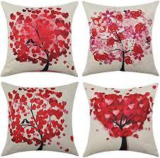 miulee pack 4 dekorative bäumen serie rot baum kissenbezug kissen fällen wurfkissen einzigartiges design outdoor shell kissenbezug für sofa