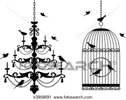 Clipart Of Birdcage And Chandelier With Birds K3958691