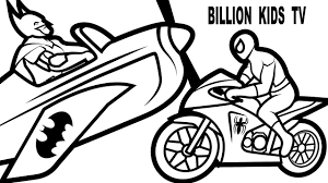 Colors Motorcycles And Planes W Spiderman Batman Coloring Pages Book