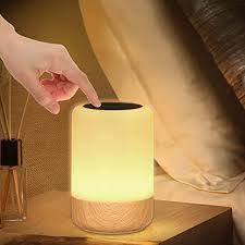 led nachttischle touch dimmbar holzmaserung nachttischle batterie 8 farben led tischle mit timer und memory funktion für schlafzimmer