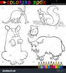 Coloring Book Or Page Cartoon Illustration Of Funny Wild Animals For Children