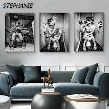 vintage nordic pissen mädchen bart mann leinwand kunst hd schwarz weiß vollbusige mädchen wand kunst bild für schlafzimmer heißer poster n