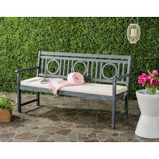 Outdoor Bench Cushions Home Depot by Safavieh Montclair Outdoor 3 Seat Acacia Patio Bench With Beige