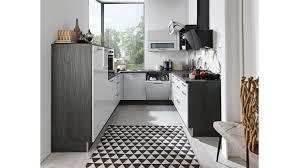 u küche susann grau hochglanz und schwarz mit e geräten