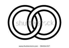 Wedding rings linked to her in the symbol of marriage line art vector icon for apps and