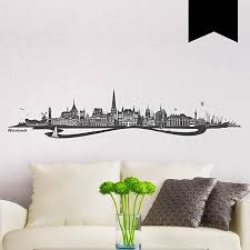 wandkings wandtattoo skyline rostock mit fluss 100 x 19 cm schwarz 35 farben zur wahl