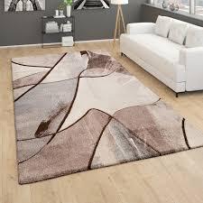 teppich wohnzimmer moderner kurzflor 3d effekt geometrisches muster braun beige