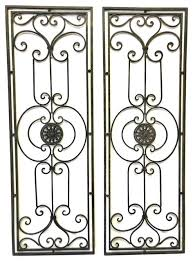 Large Wrought Iron Wall Art Pleasing Abrianna Tuscan Scrolling Grille Set Decorating