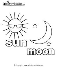 Sun Moon Coloring Page Printable