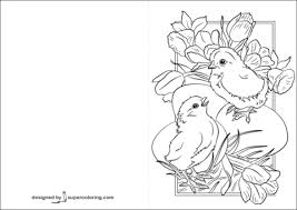 Click To See Printable Version Of Easter Card With Chicks Coloring Page
