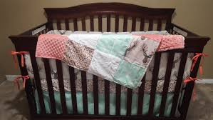 Coral And Mint Crib Bedding by Baby Crib Bedding Tulip Fawn Feathers Mint Arrow And
