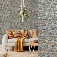 vlies tapete bruchstein mauer naturstein brick anthrazit grau terra braun