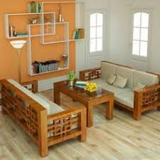 Wood Living Room Sofa And Table In Small Modern