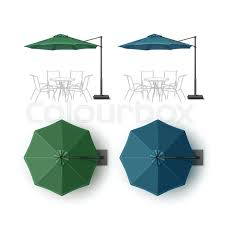 Vector Set Of Blue Green Blank Patio Outdoor Beach Cafe Bar Pub Lounge Restaurant Round Umbrella Parasol For Branding Top Side View Mock Up Close