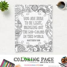 Printable Adult Coloring Page Bible Verse Matthew 516 Instant Download Pages