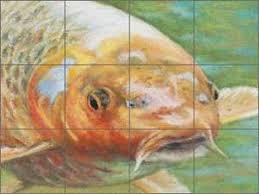 ceramic tile mural backsplash hughbanks koi fish sea