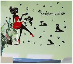 wandtattoo mädchen aufkleber mode schuhe fashion frau