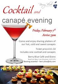 cocktails and canapes cocktail and canapé evening berry blue café and bistro