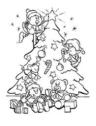 Elf Decorate Christmas Tree Coloring Pages