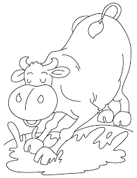 Buffalo Taking Mud Bath Coloring Page