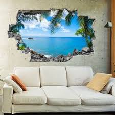 door sticker tropical beach with palm and pier self adhesive vinyl