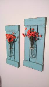 Large Rustic Sconces Shutters With Vase Wall Decor Flower Holders Shabby Chic Home Vases