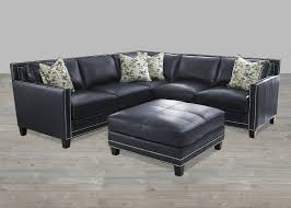 Bradington Young Leather Sectional Sofa by Sectional Blue Silver Nailheads Top Grain Leather Ottoman