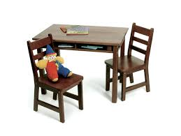 Child's Rectangular Table With Shelves & 2 Chairs, Walnut Finish ...