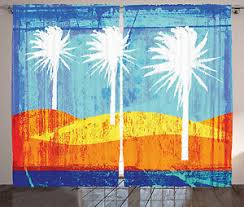 Tropical Window Art Curtains by Abstract Art Curtains 2 Panels Set Tropic Beach Home Decor Ebay