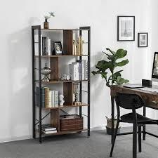 vasagle bücherregal büroregal raumteiler mit 4 ebenen standregal im industrie design wohnzimmer büro arbeitszimmer viel stauplatz groß stabil