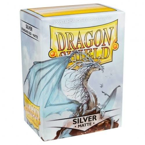 Dragon Shield Standard Card Sleeves - Silver Matte, 100 Sleeves