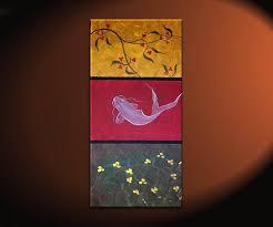 Zen Koi Fish Painting Chinese Red Green Yellow Wall Art Style Original Home Decor