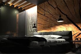 schwarzes schlafzimmer mit holz wand dekor oes