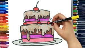 wie zeichnet kuchen mit zwei schichten ausmalen kinder malen und zeichnen für kinder