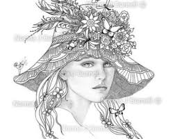 Forget Me Nots Fairy Tangles Adult Grayscale By FairyTangleArt